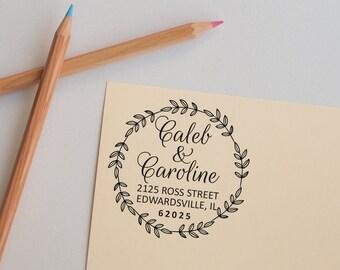 Wedding Stamp, Return Address Stamp, Personalized Stamp, Round Address Stamp, Custom Stamp, Self Inking Stamp, Custom Self Inking Stamp