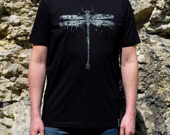 Man T Shirt Black Dragonfly, T-Shirt, Man's Clothes, Dragonfly Design, Clothes for Man, T-Shirt for Man, Black Shirt, Black T-Shirt