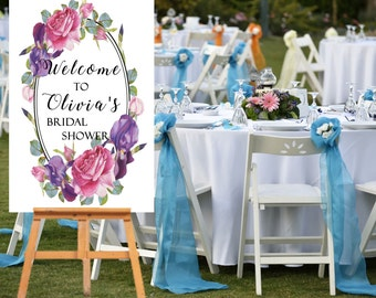 DIY PRINTABLE Bridal Shower Welcome Sign Print Your Self Customized names Date engagement LARGE Party Hens Night Floral Elegant Wedding