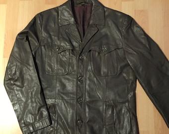 Leather Jacket in khaki 80's