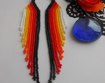 Dangle fringe earrings Seed bead earrings  Long dangle earrings Beaded jewelry Bead woven earrings Beadwork earrings boho  gift for her