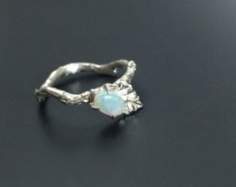 Opal silver ring Gemstone branch ring Nature jewelry Nature inspired ring