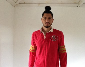 Vintage San Francisco 49ers Long Sleeve Polo | Shoulder Padded Red 49ers Polo | Reto SF 49ers RC Owens Style Polo |