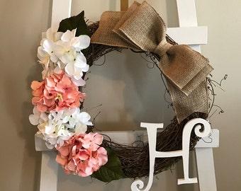 Grapevine Wreath, Hydrangea Wreath, Every Day Wreath, Monogram Wreath, Front Door Wreath