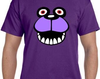 Bonnie The Bunny Face * Five Nights At Freddys Cosplay Parody T-Shirt * Sizes Youth X-Small - 5XL  * Mystic * 5 * FNAF * 5NAF * Freddies