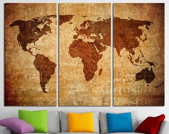 Large World Map Canvas Print Wall Art Multi Panel World Map Wall Decor World Map Print Old World Map Poster Wall Art Travel Map Canvas Art