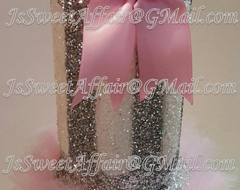 Glitter Baby Bottle Bank With Stand And Handmade Ribbon, BabyShower, Centerpiece, Many Colors