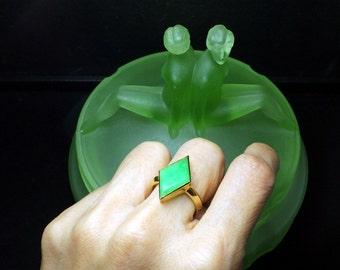 Natural Apple Green Jade Gold Ring, Antique Chinese