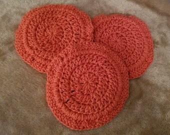Set of 3 handmade cotton dishcloths/pot holders/hot pads, rustic/burnt orange