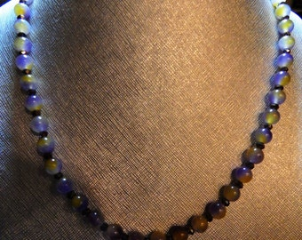 22 Inch Ametrine and Faceted Crystal Beaded Necklace