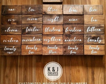 KANDJCREATES Rustic Wooden  Wedding / Party Table Numbers