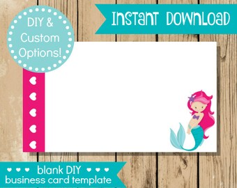 Blank diy business card pink watercolor do it yourself blank diy business card pink mermaid do it yourself business card blank card solutioingenieria Choice Image