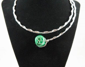 Silver Collar Necklace with Green Malachite