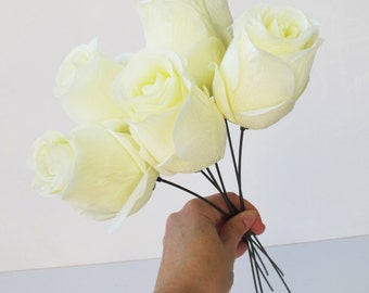 """11 Roses White Artificial Silk Flowers Rose 2.2""""x 4"""" Floral DIY Wedding Hair Accessories Flower Supply Faux Fake Wedding Snabby Chic"""