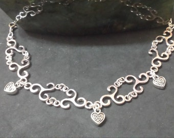 Celtic triskel and hearts bracelet, pagan, paganism, pagan, Celtic jewelry