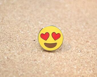 Heart Eyes Emoji Lapel Hat Pin