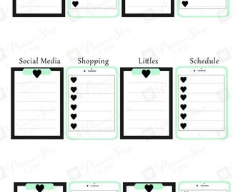 Classic Mint Green Heart iPad Clipboard To Do | Stickers | Planner Printable | To Do Clipboard | Happy Planner Sticker | INSTANT Download