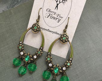 Recycled Upcycled Assemblage Green Chandelier Earrings