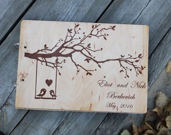 Rustic wedding book alternative Wooden wedding guest book Love bird guestbook Wedding album Custom unique journal gift|for|couple Tree Swing
