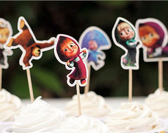24 Masha and Bear Cupcake Toppers /Cake Decorations/Party Decorations