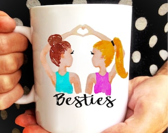 Best Friend Personalized Mug Gift // Pick your hair color / Custom Hair Bestie BFF Mug Gift / Best Friend Gift