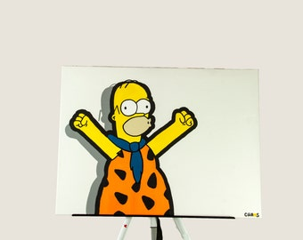 Yabba Dabba Doh! // Homer Simpson // Fred Flintstone // Pop Art, Painting, 24X20, Acrylic Painting, Wall Art, Colorful Painting, Artwork