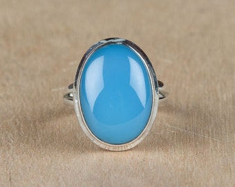 Handmade Aqua  Chalcedony Gemstone & 925 Sterling Silver Ring Size US 6 BJR-101-AC-C
