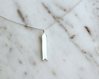 NEW Customizable Silver Tag Necklace, Hand Stamped Banner, Simple Sterling Silver Necklace