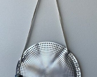 ON SALE 50% OFF!! Round Silver Beach Bag. Handbag. Tassel Keyring