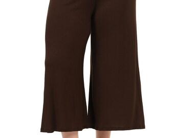 Elastic Waist Wide Leg Crop Culottes Pants Plus Size Brown