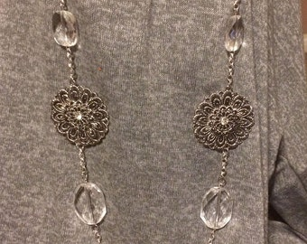 Long flower chain, Long statement necklace, Silver Filigree Chain, crystal necklace