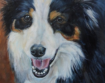 custom pet portrait, original painting, dog portrait, memorial pet art, painting from your photos, Boarder Collie