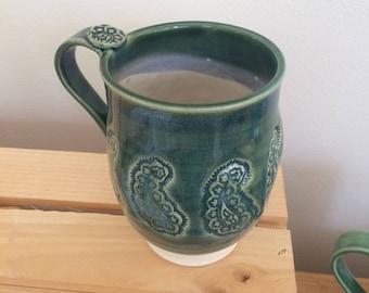 Handmade Clay Mug, Paisley Pottery Mug