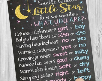 Twinkle Twinkle Little Star Gender Reveal party Chalkboard poster, old wives tales gender prediction poster, baby shower game.