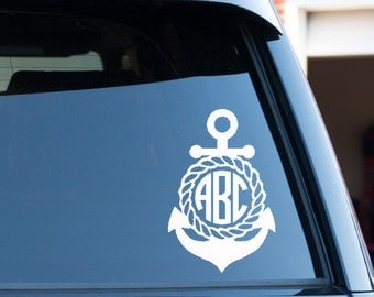 Customize Anchor Monogram Circle Font Car Window Decal