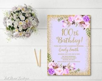 100th Birthday Invitation Any Age Women Birthday Invitation