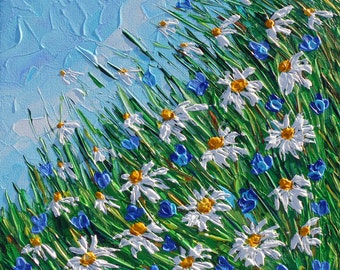 Floral Abstract Original Acrylic Artwork, Textured Impasto Modern Daisies Painting, Contemporary Palette Knife Impressionism Wall Art Canvas