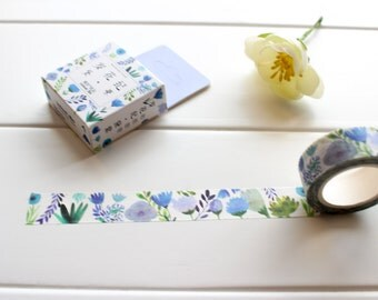 Blue Flower Washi Tape,  Floral Washi tape,  Blue Pretty Watercolour Masking Tape (FL-114)