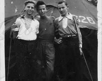 Vintage Photo - Scout photo - Young boys photo - Scout boys - Vintage Snapshot - Polish Photo - Polish scout - 1950s photo - Tent photo