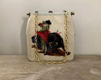 Vintage Needlepoint & Leather Matador Themed Handbag