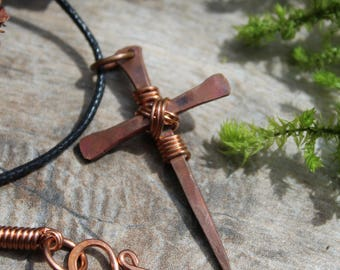Forged Copper Nail Cross, Disciples Cross, Mens Copper Cross, Christian Jewelry, Religious Jewelry, Mens Cross Necklace