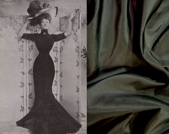 Custom Made Black Shot Taffeta Edwardian Gibson Girl 19th Century Gown with Rhinestone Brooch