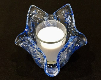 Fused Glass Candle Holder, Transparent, Hanukkah Holiday, Blue & White, with Candle