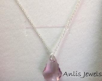 925 Silver necklace with pendant Swarovski Drop purple-
