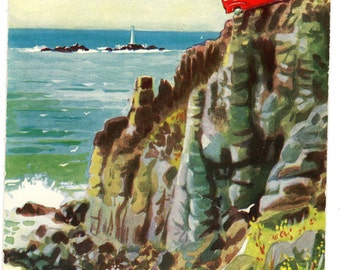 Vintage Comic Postcard,Greetings from LAND'S END,CORNWALL,Tourist Bus at the cliffs of Land's End,1965