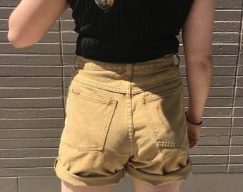 Camel Color High Waisted Denim Shorts 90s Style
