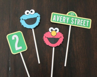 12 Sesame Street cupcake toppers or food picks with name | Elmo toppers | Cookie Monster toppers | Sesame Street theme | Elmo decorations