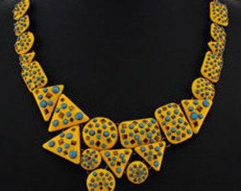 Yellow Geometric Choker Necklace