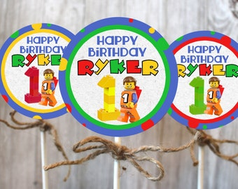 Lego cupcake toppers for lego themed birthday party 1st 2nd or 3rd birthday, first second or third Digital Download or mailed with sticks