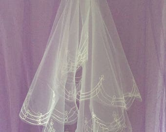 RHONDA -  Fingertip Length Wedding Bridal Veil
